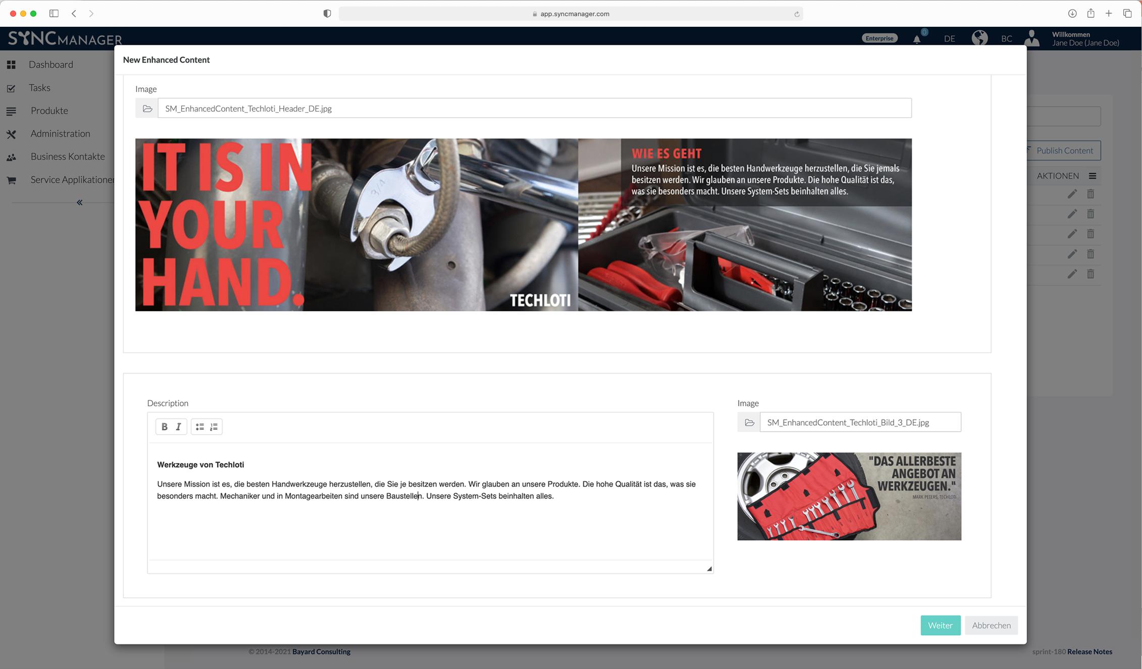 SyncManager – Produkt-Webshop-Detailseiten für Lieferanten – Enhanced Content – DIY