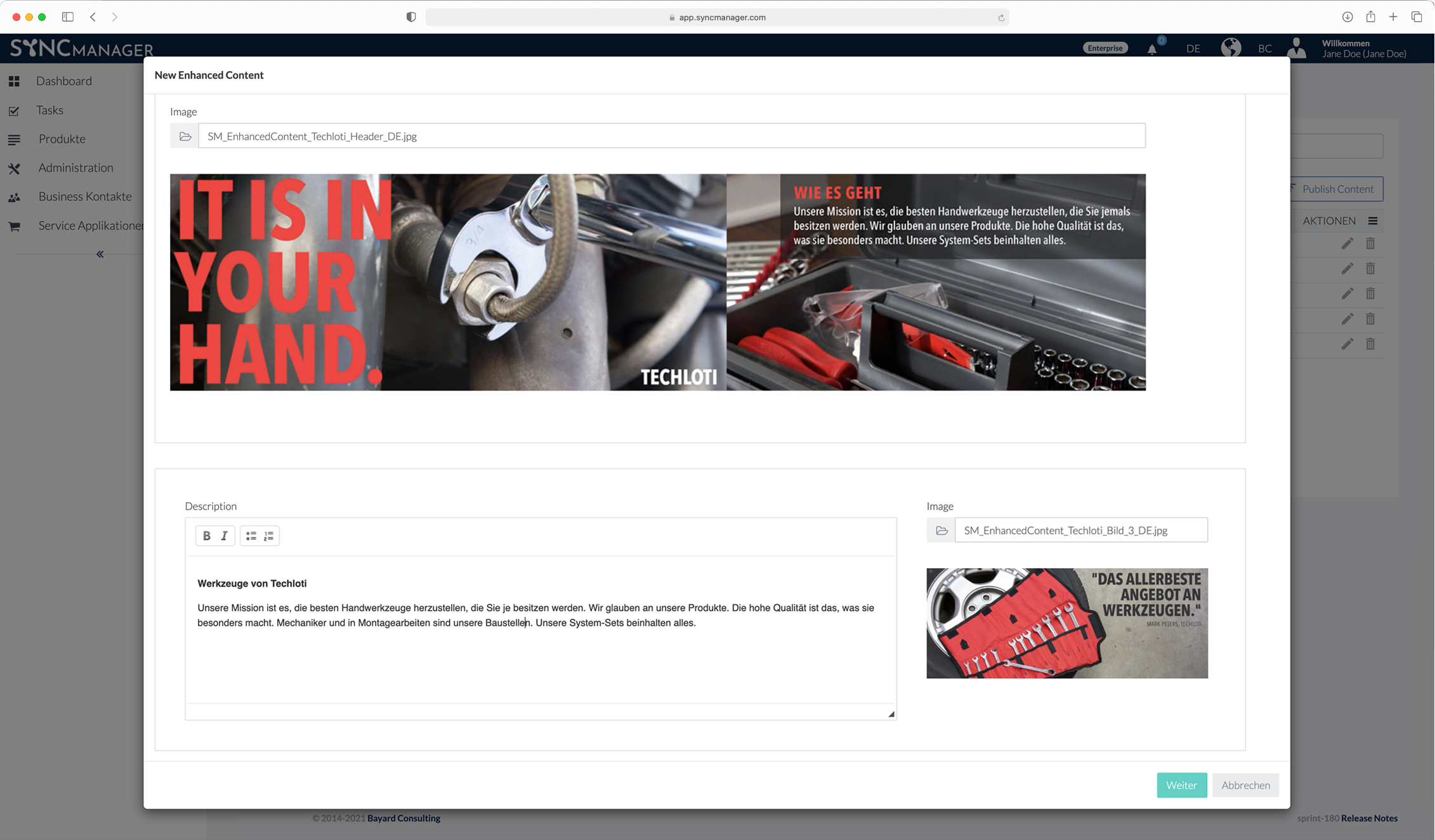 SyncManager – Produkt-Webshop-Detailseiten für Lieferanten – Enhanced Content – DIY –Editor