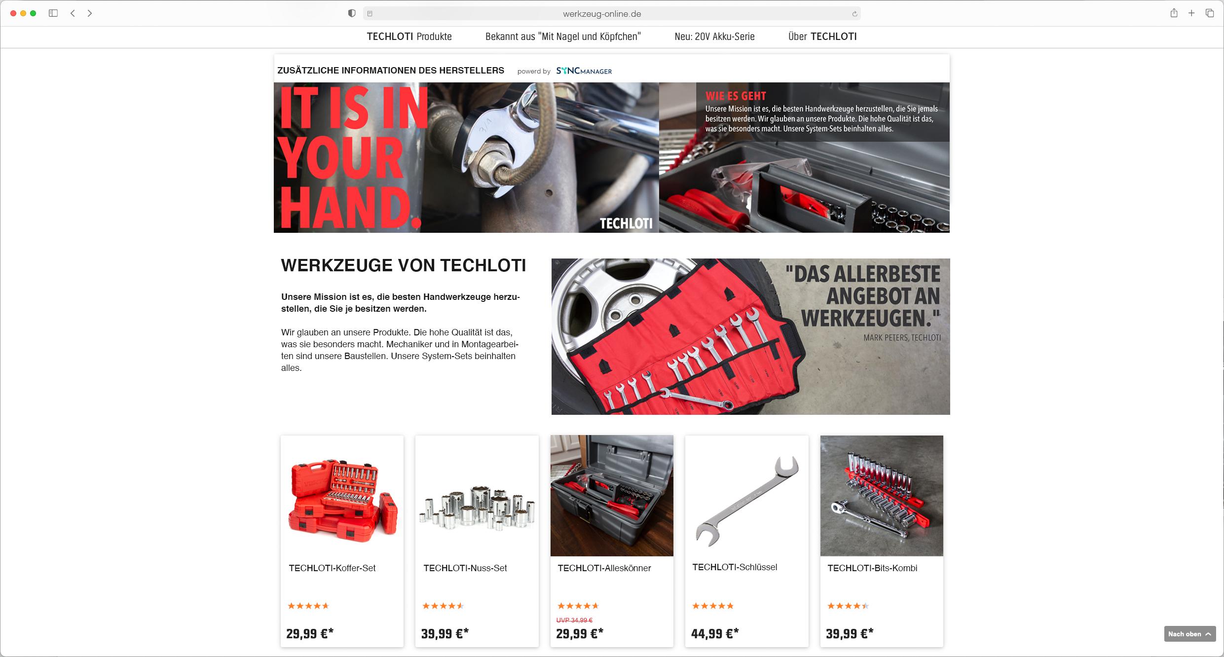 SyncManager – Produkt-Webshop-Detailseiten für Lieferanten – Enhanced Content – DIY –Frontend